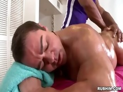 muscled dad exposed as brawny masseur strokes