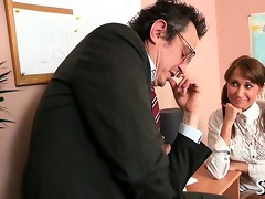 teacher is getting juicy oral