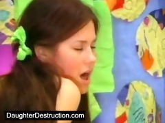 youthful daughter screwed in her face hole and