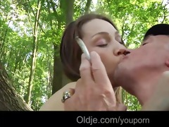 smoking grandpa bonks cute teeny in the forest