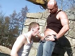 large dad bonks guy in the arse outdoor public