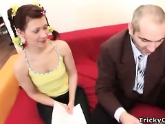 depraved old teacher seduces cute young coed