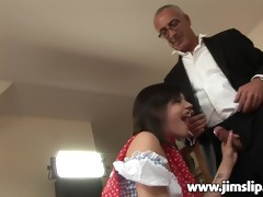 young cute beauty getting drilled by jim slide